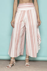 Stripe Flare it is! Powder Pink Cotton Trousers -Yellwithus.com