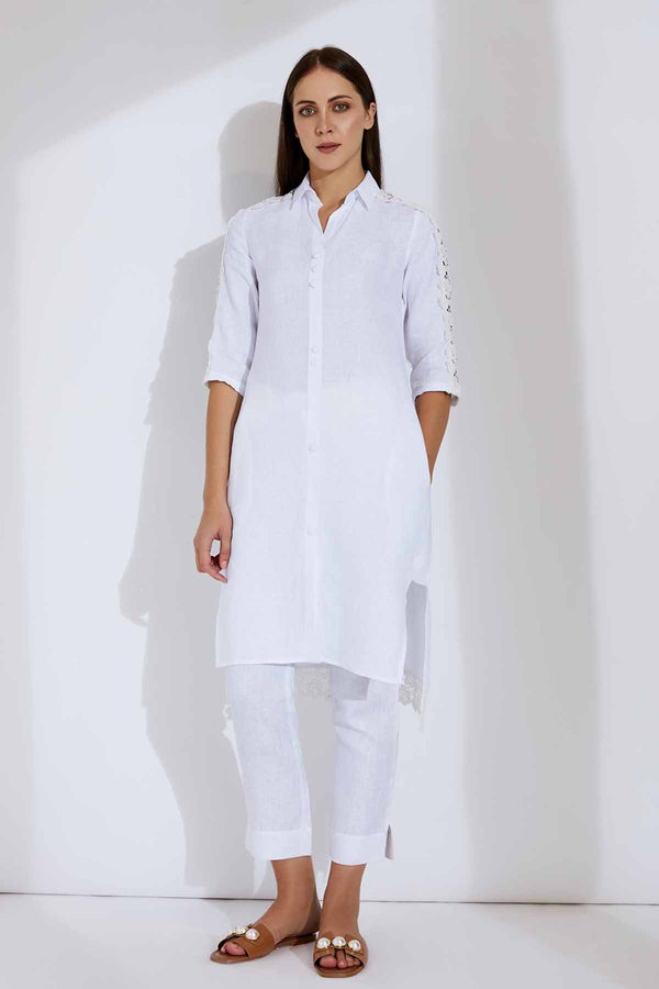 The Alora Kurta White - Yellwithus.com