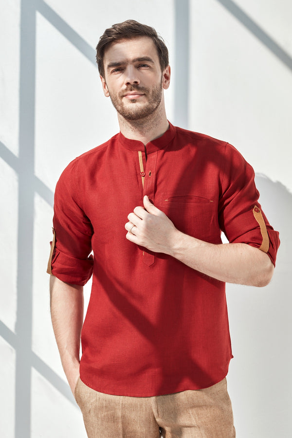 Striped Natural Kurta-Yellwithus.com