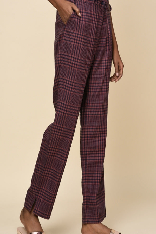 Lucid Drawstring Pants - Purple Wine Blue Check | Yellwithus.com
