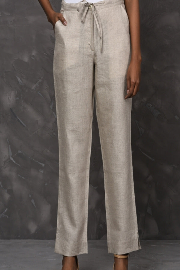 Lucid Drawstring Natural Linen Pants-Yellwithus.com