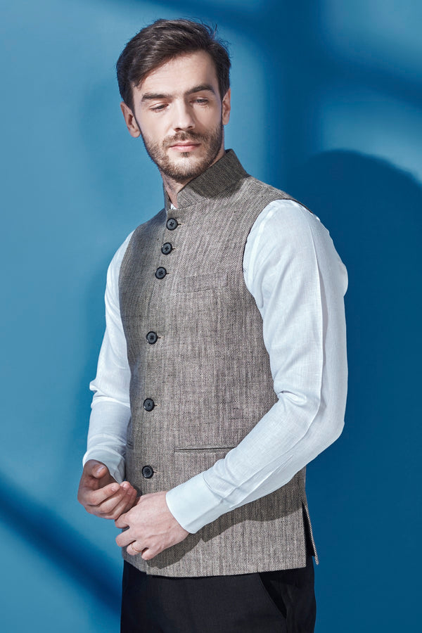 Men's Nehru Collar Jacket-Yellwithus.com