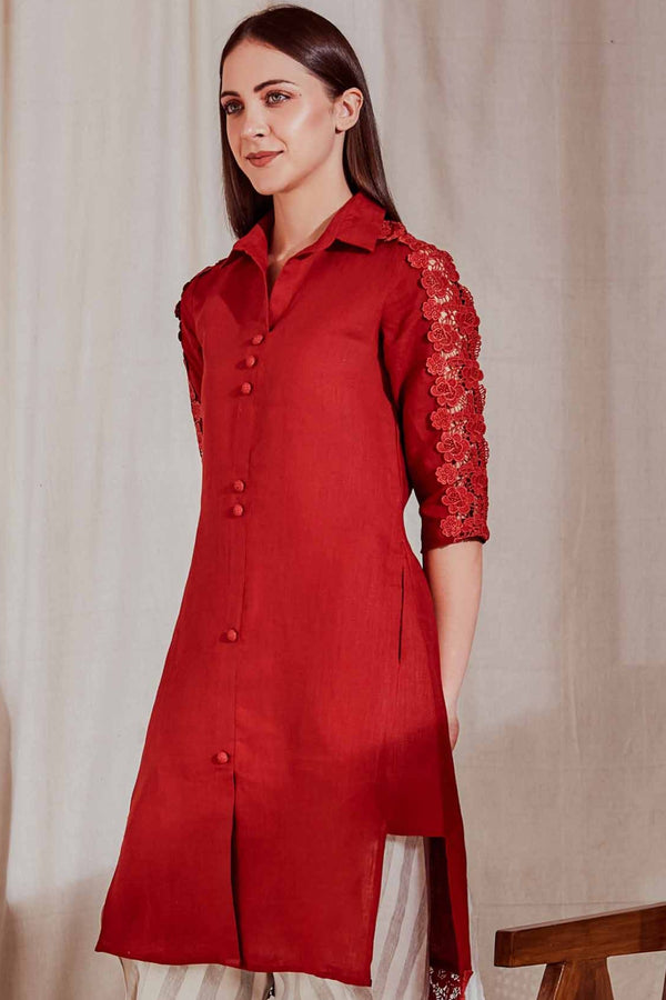 The Alora Linen Maroon Kurta For Women - Yellwithus.com