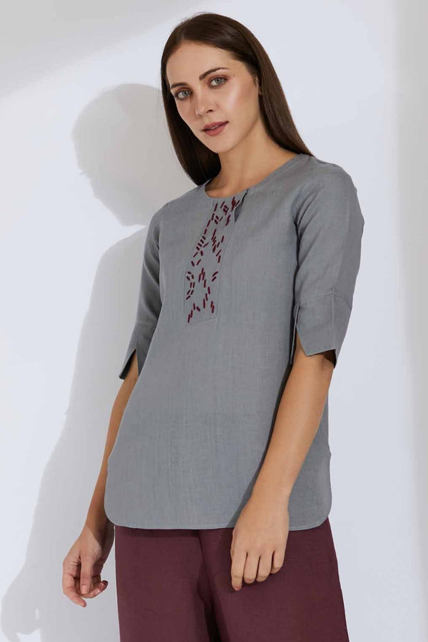 The Heather Top Gray-Yellwithus.com