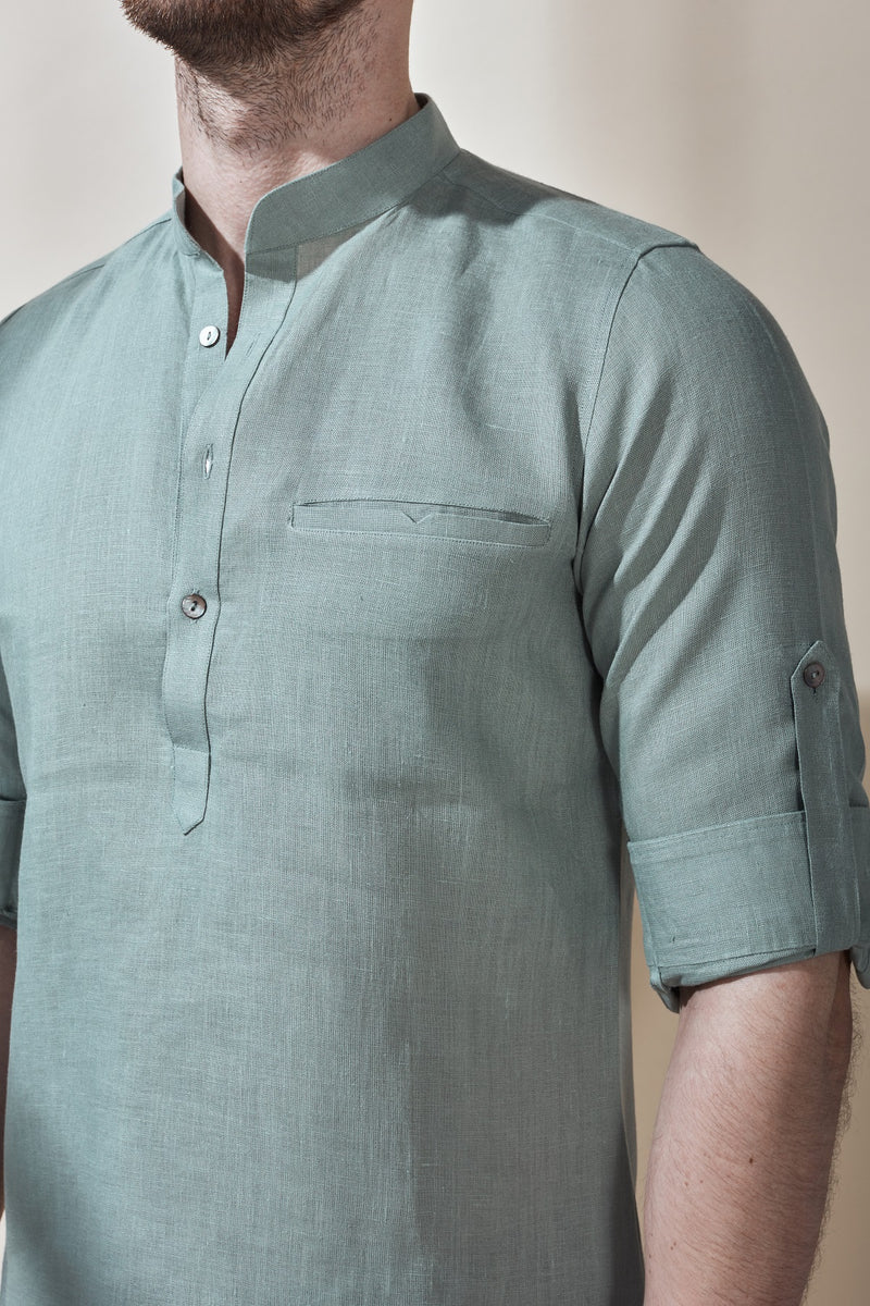 Mandarin Collar Kurta With Rolled Up Sleeves-Yellwithus.com