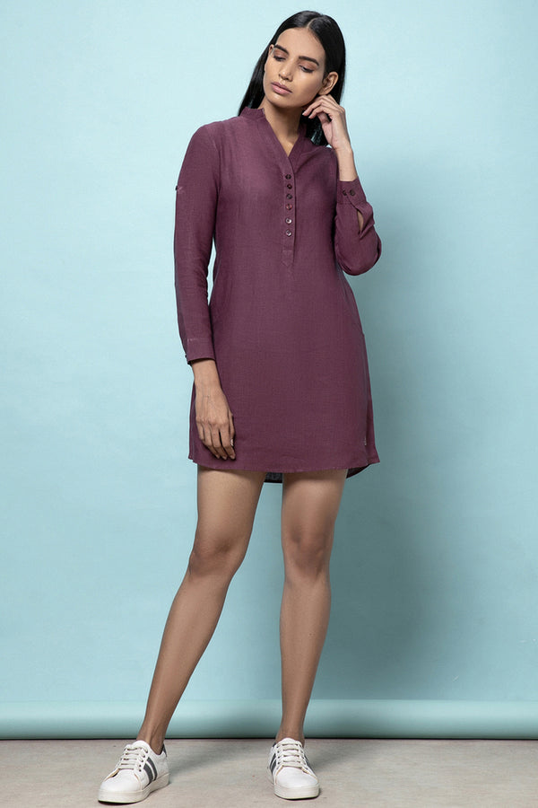 Frosted Purple Wine Linen Dress - Yellwithus
