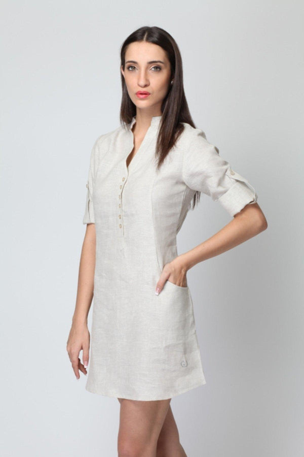 Frosted Linen Dress - Natural Linen Dress for Women | Yellwithus.com