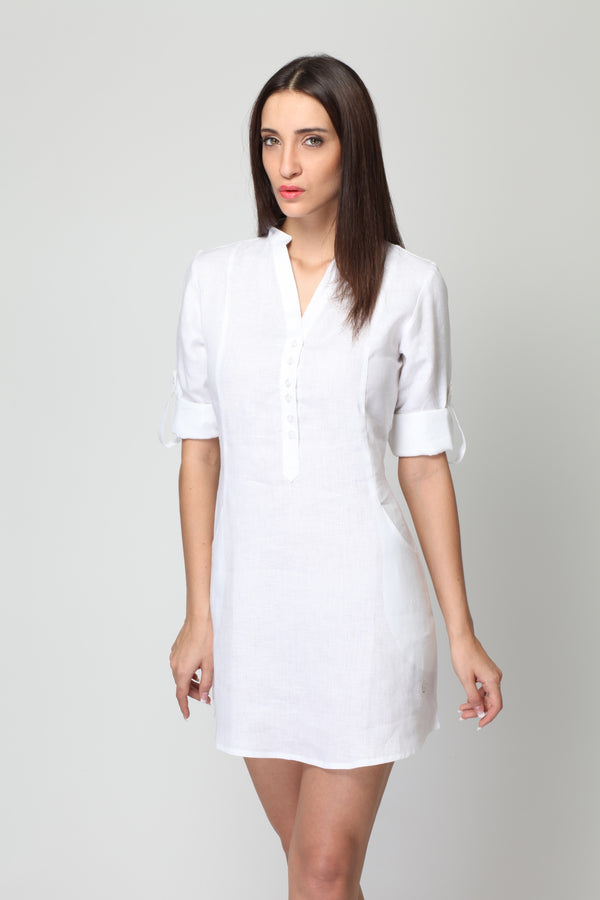 Frosted Linen Dress - Daisy White - Yellwithus.com