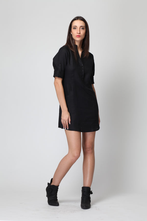 Jet Black Frosted Linen Dress - Yellwithus.com