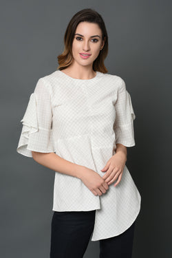 Asymmetric Round Neck Top-Yellwithus.com