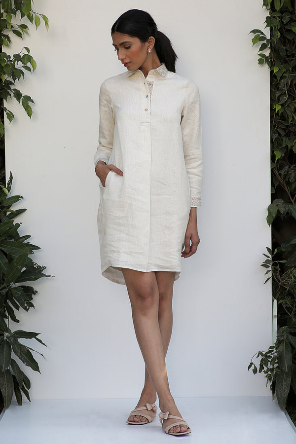 Balloon Linen Dress-Yellwithus.com