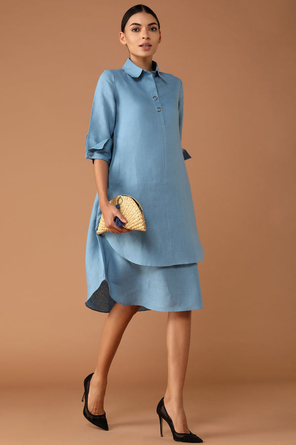 Splendid Double-Layer Powder Blue Dress-Yellwithus.com