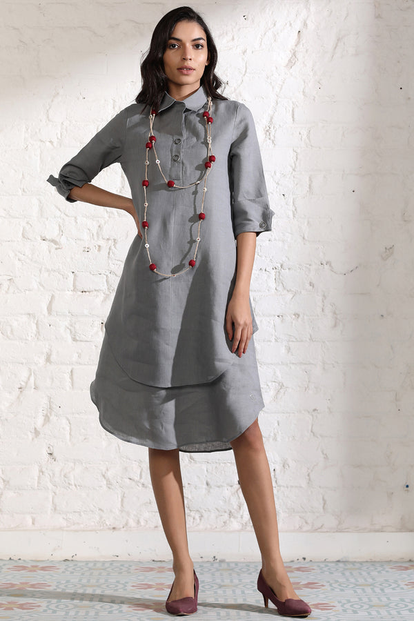 Splendid Double-Layer Gray Dress-Yellwithus.com