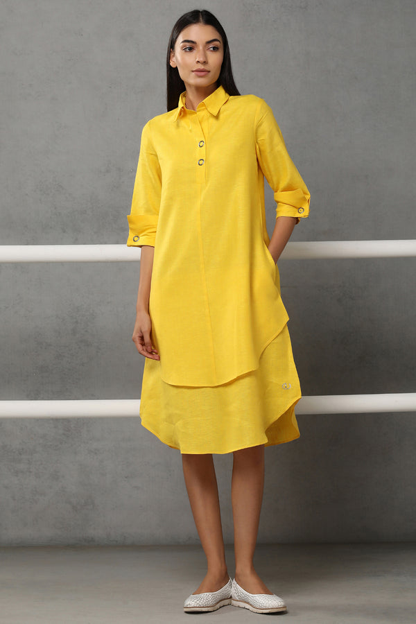 Splendid Double-Layer Yellow Dress-Yellwithus.com