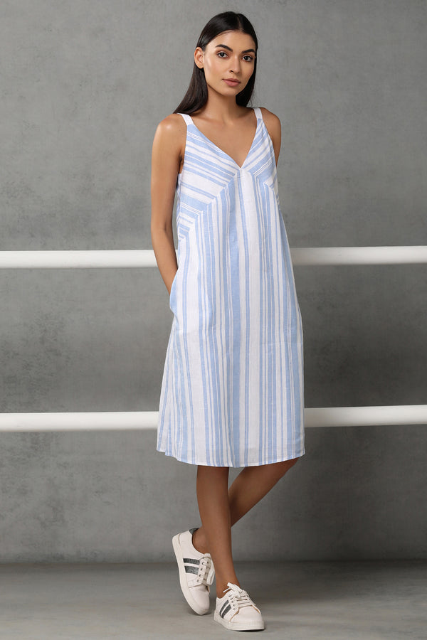 The Odelia Dress - White Blue Stripe - Yellwithus.com