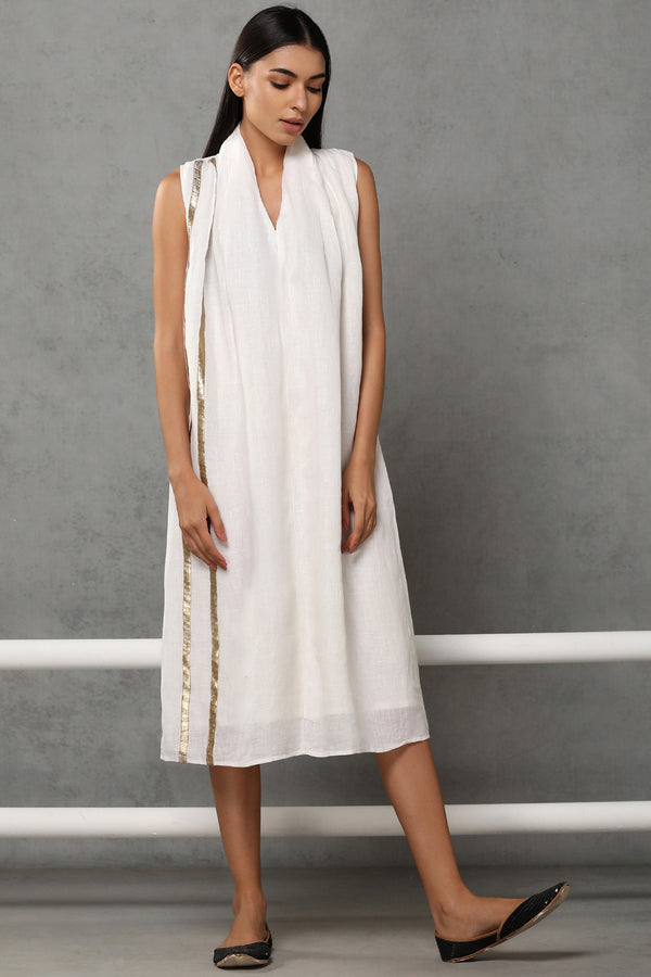 The Wera Dress Off White Gauze - Yellwithus.com
