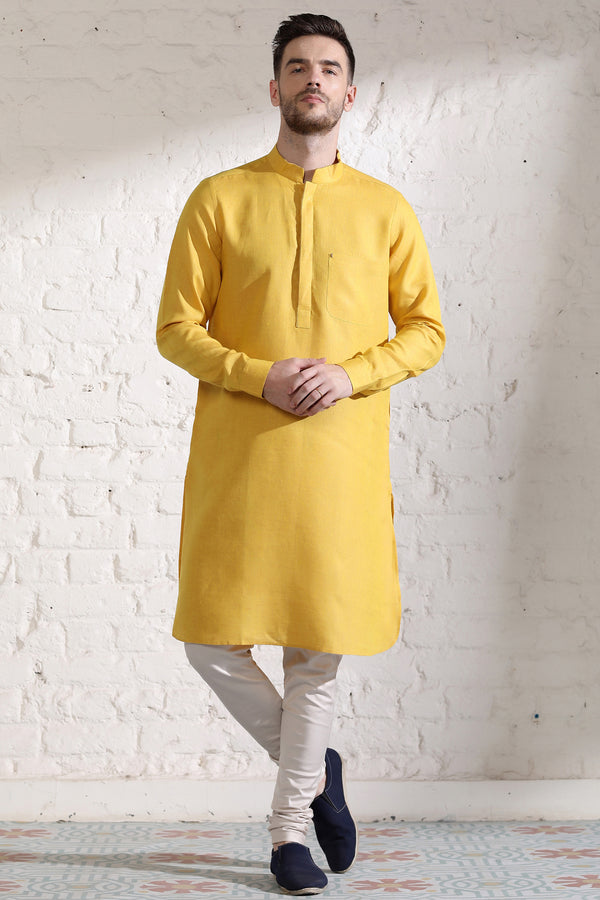 The Mustard Leisure Kurta-Yellwithus.com