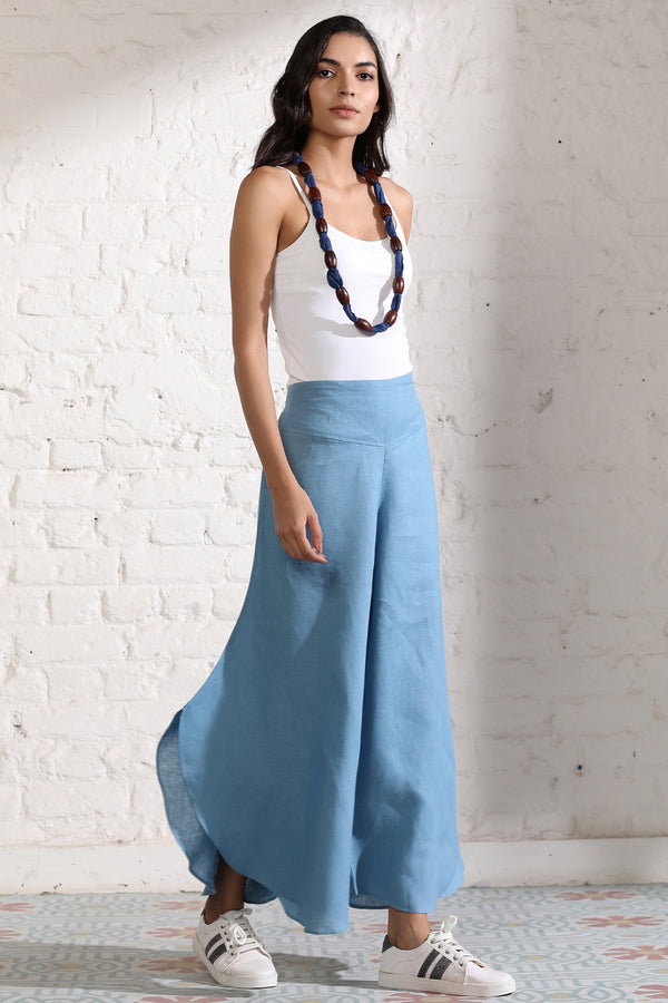 Flare it is!- Blue Flare Linen Trousers for Women | Yellwithus.com
