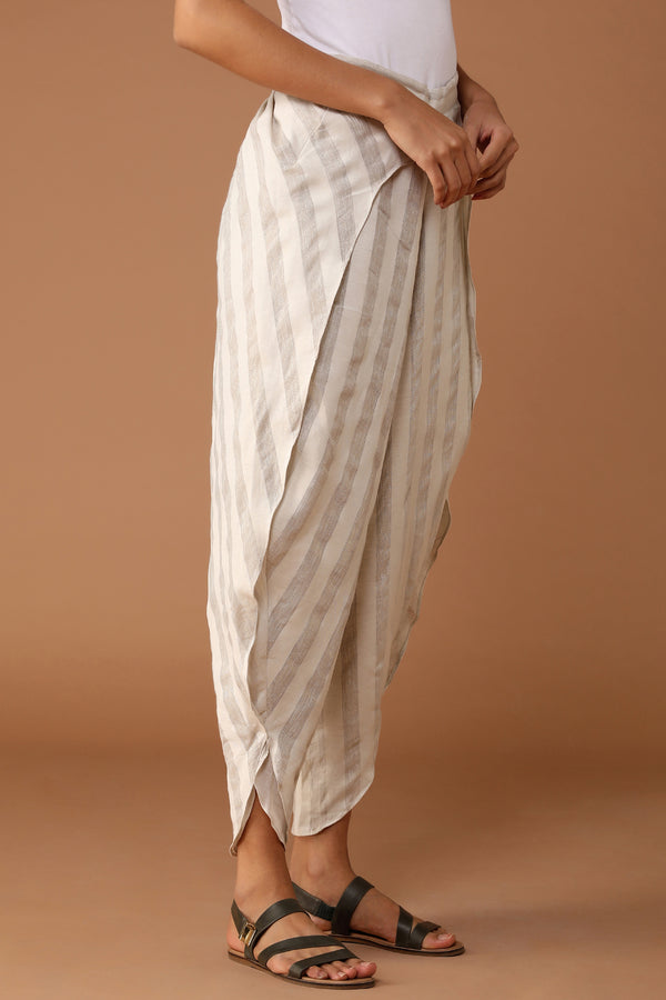 The Division Tulip Pants Natural White Gauze Stripe - Yellwithus.com