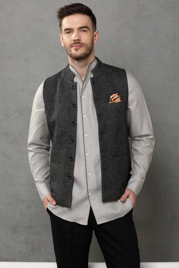 The Sombre Affair Nehru Jacket-Yellwithus.com