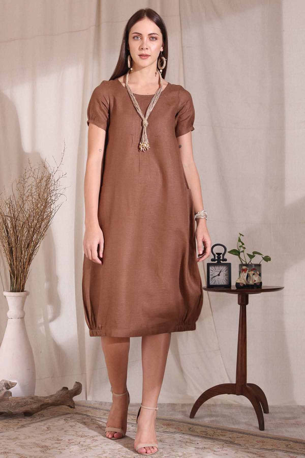 The Kalila Brown Dress - Yellwithus.com
