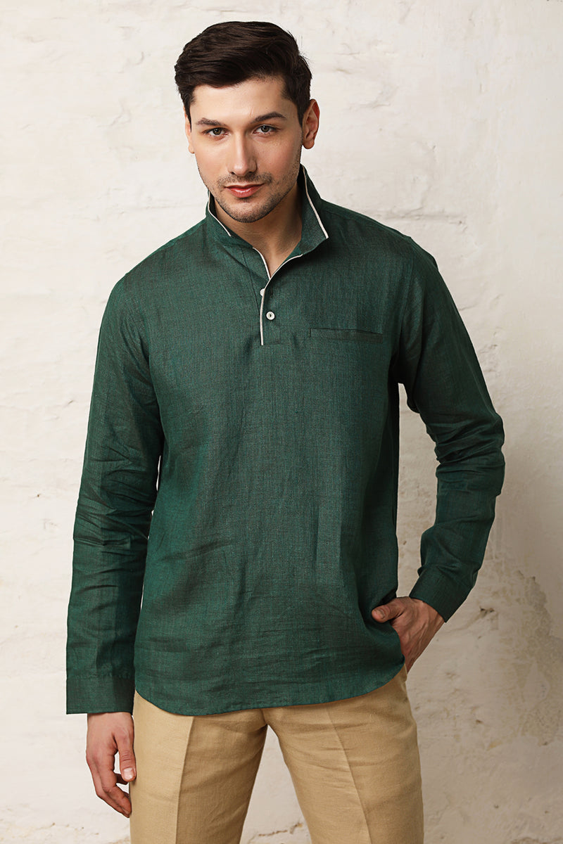 Pitch Solid Kurta-Yellwithus.com
