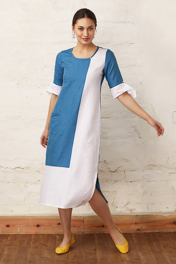L-Shape Colour Block Berry Blue Dress-Yellwithus.com