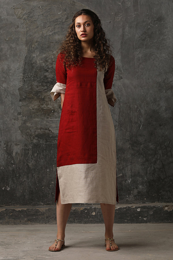 Beet Red L-Shape Colour Block Dress-Yellwithus.com