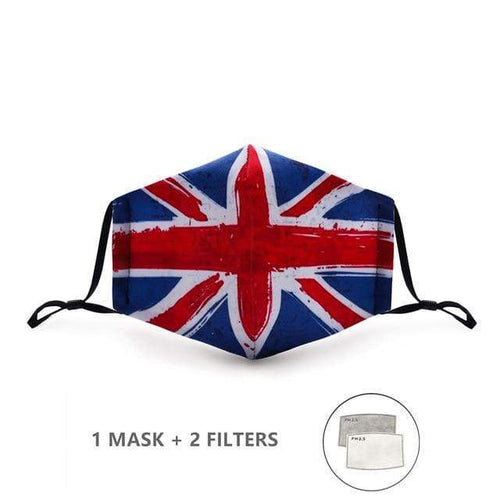 Union Jack Face Mask with Replaceable PM 2.5 Charcoal Filter - Look At My Mask!