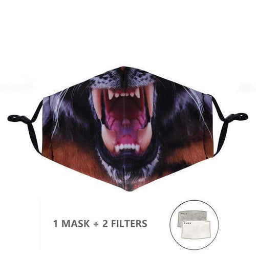 Jaguar Panther Face Mask with Replaceable PM 2.5 Charcoal Filter - Look At My Mask!