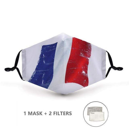 French Flag Face Mask with Replaceable PM 2.5 Charcoal Filter - Look At My Mask!