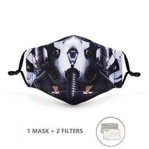 Feathers 2 Design Face Mask with Replaceable PM 2.5 Charcoal Filter - Look At My Mask!