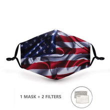 Load image into Gallery viewer, Stars & Stripes USA Flag Mask with Replaceable PM 2.5 Charcoal Filter - Look At My Mask!