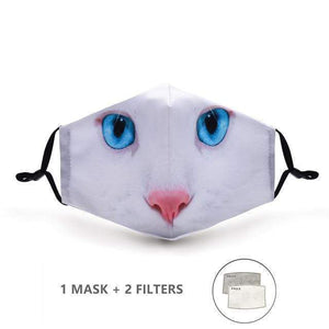 White Cat Face Mask with Replaceable PM 2.5 Charcoal Filter - Look At My Mask!