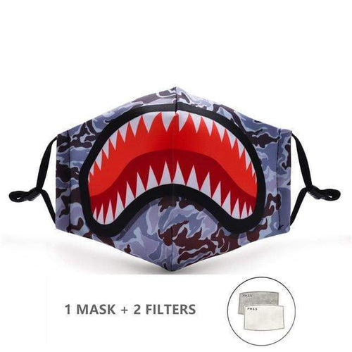 Shark Face Mask with Replaceable PM 2.5 Charcoal Filter - Look At My Mask!