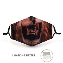 Load image into Gallery viewer, Lion Face Mask with Replaceable PM 2.5 Charcoal Filter - Look At My Mask!