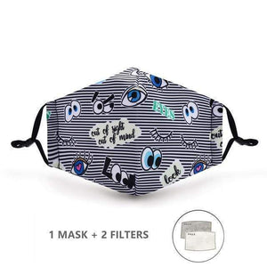 Flower Power Face Mask with Replaceable PM 2.5 Charcoal Filter