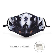 Load image into Gallery viewer, Snakeskin Face Mask with Replaceable PM 2.5 Charcoal Filter