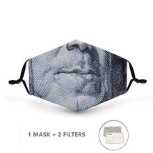 Load image into Gallery viewer, George Washington Face Mask with Replaceable PM 2.5 Charcoal Filter