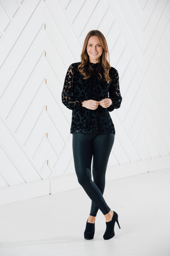 Black Leopard Ruffle Top