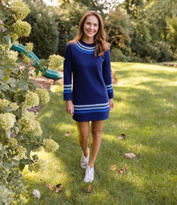 SOLID FRENCH TERRY SWEATSHIRT DRESS WITH MULTI-COLORED RIC-RAC