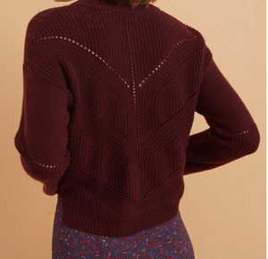 Olivia Crewneck Sweater in Cabernet Heather