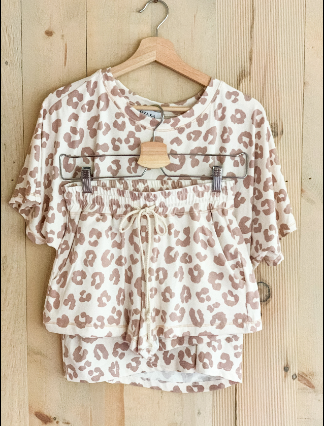 Leopard Cozy Short Sleeve Top