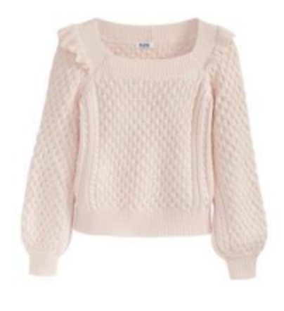 Pink Ruffle Cable Knit Scoop Neck Sweater by 525 America