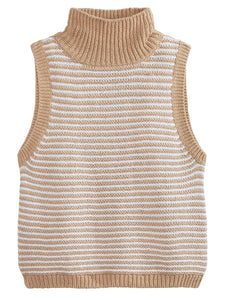 Striped Sleeveless Turtleneck Tank