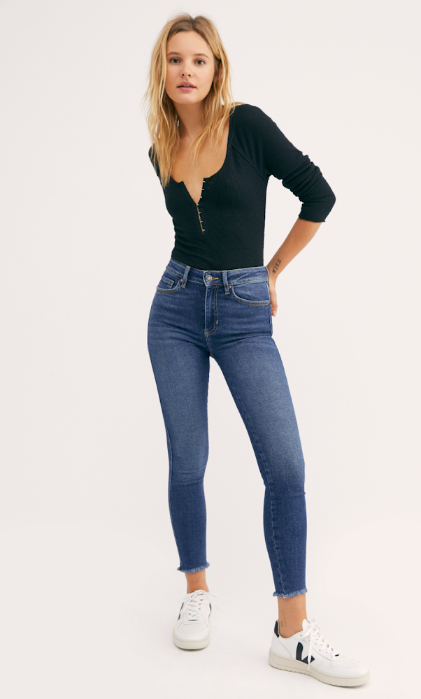 Free People High Rise Jeggings in Capri Blue