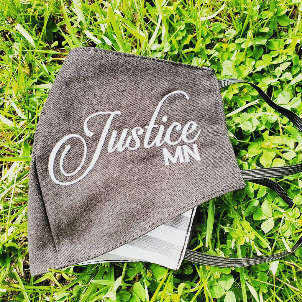 Justice MN embroidered cotton face mask