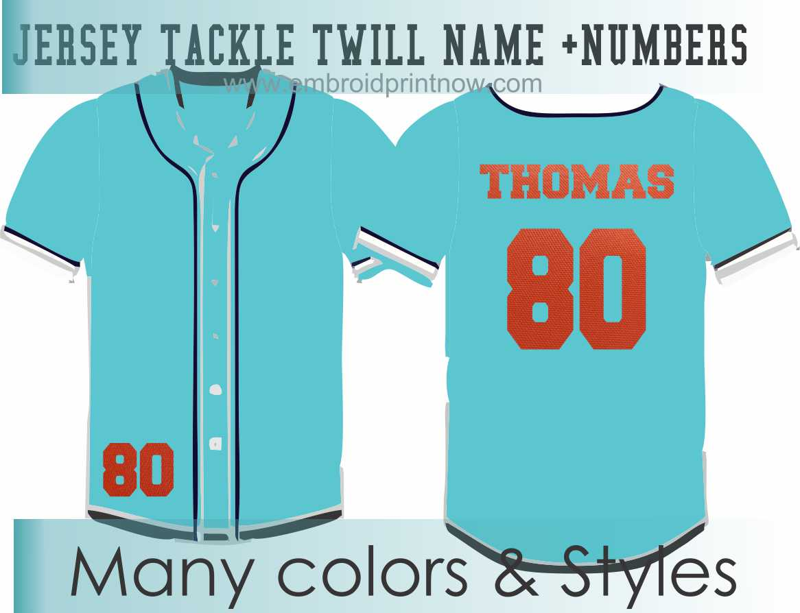 Tackle Twill Pro Name + Numbers Kit for Jerseys