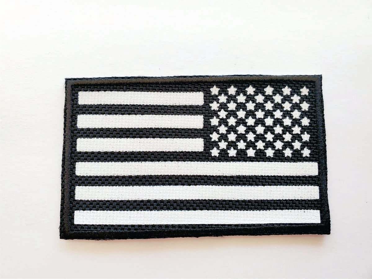 "100 Black USA Flag  4"" X 2.25"" Patches"