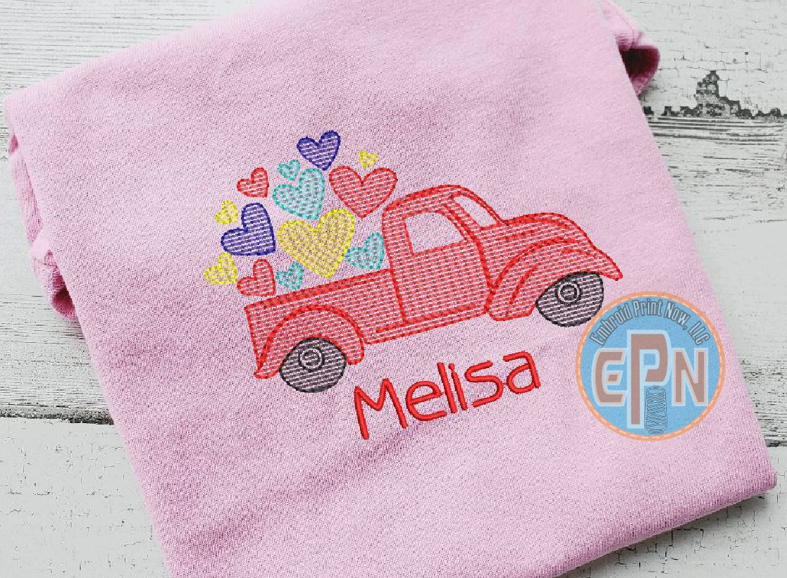 Vintage Heart Truck Birthday T-shirt With Name
